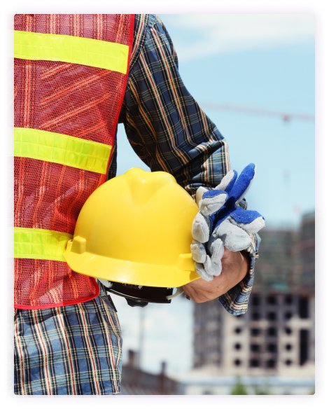 construction worker holding a hard hat